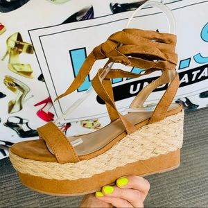 Shoes - Tan tie up espadrille wedge